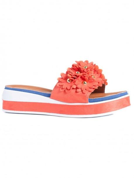 Дамски чехли с удобна подметка - оранжеви