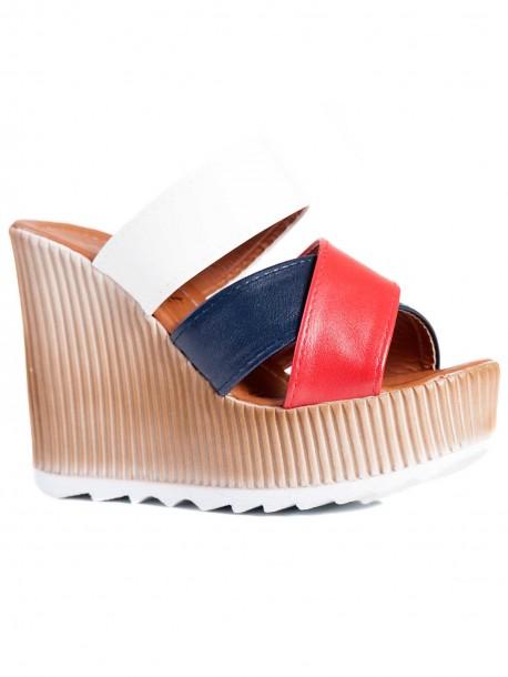 Високи дамски чехли в синьо, червено и бяло