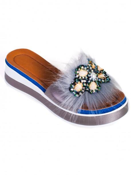 Модерни дамски чехли - сиви