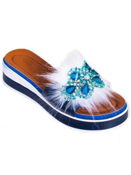 Модерни дамски чехли - сини
