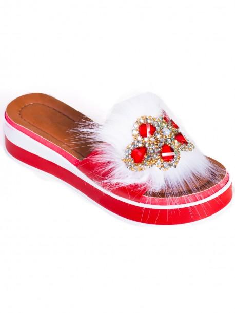 Модерни дамски чехли - червени