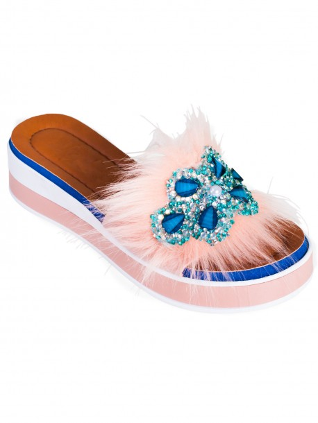Модерни дамски чехли - розови