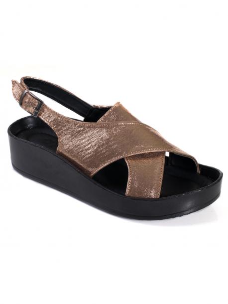 Удобни дамски сандали - бронз