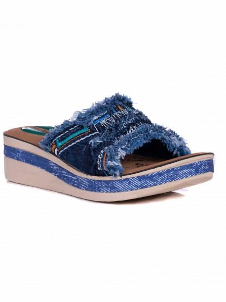 Дамски дънкови чехли на платформа