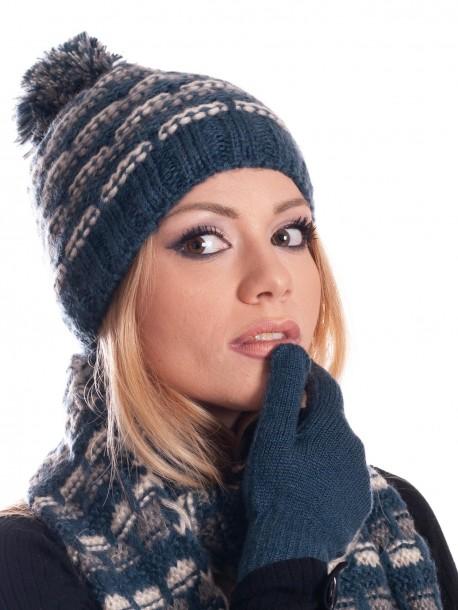 Шапка, шал и ръкавици за дами - сини