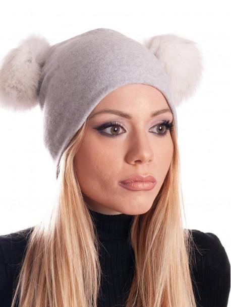 Дамска трикотажна шапка - светло сива
