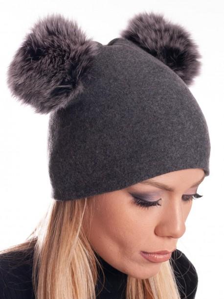 Дамска трикотажна шапка - сива