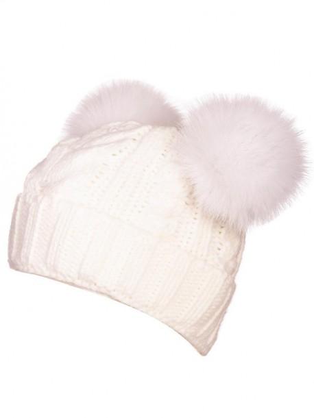 Бяла шапка с два помпона