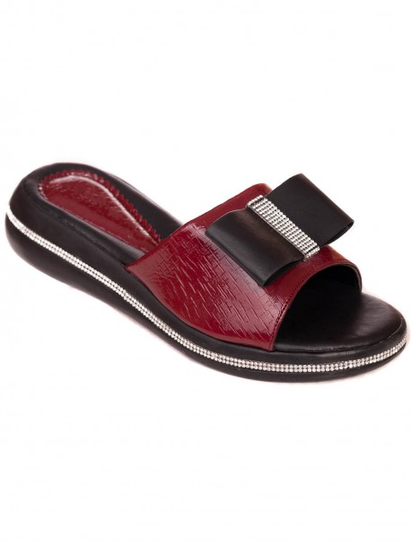 Лачени чехли с пандела - бордо