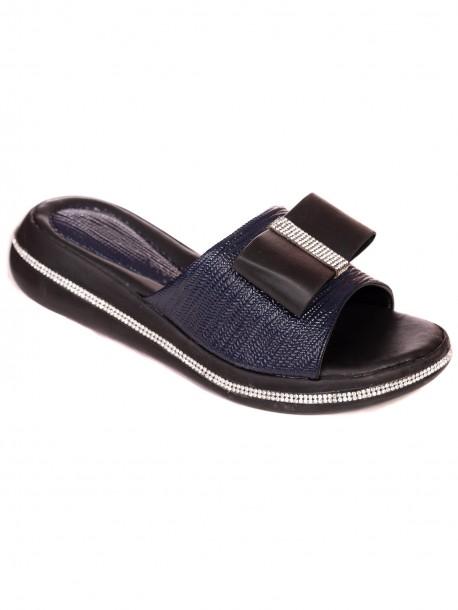 Лачени чехли с пандела - сини