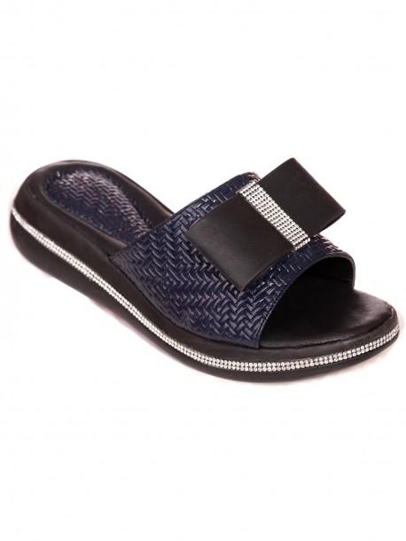 Лачени чехли с пандела - тъмно сини