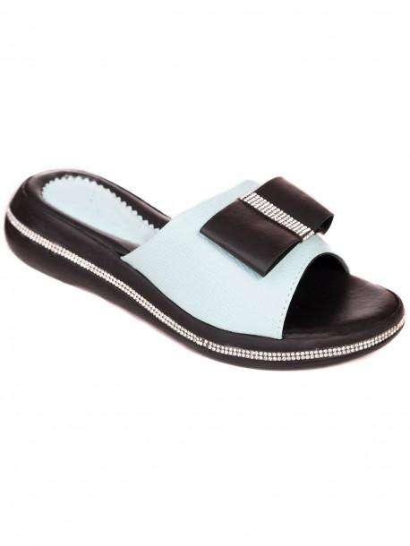 Дамски чехли с пандела - аквамарин