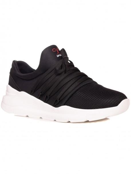 Мъжки спортни обувки без връзки - черни