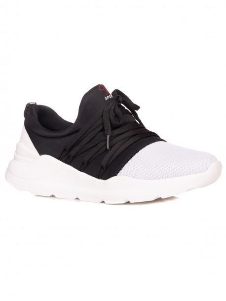 Мъжки спортни обувки без връзки - черно и бяло