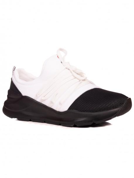 Мъжки спортни обувки без връзки - бяло и черно
