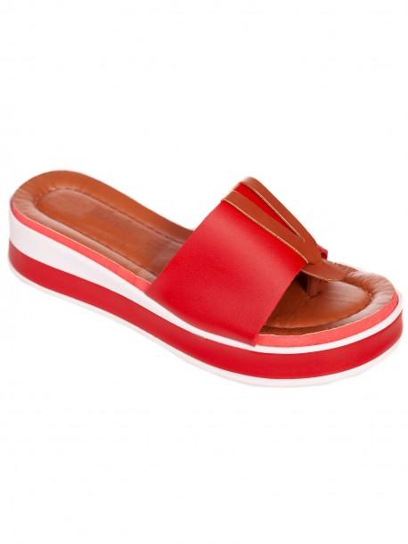 Червени удобни дамски чехли