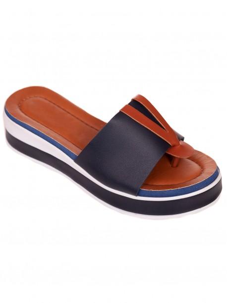 Сини удобни дамски чехли