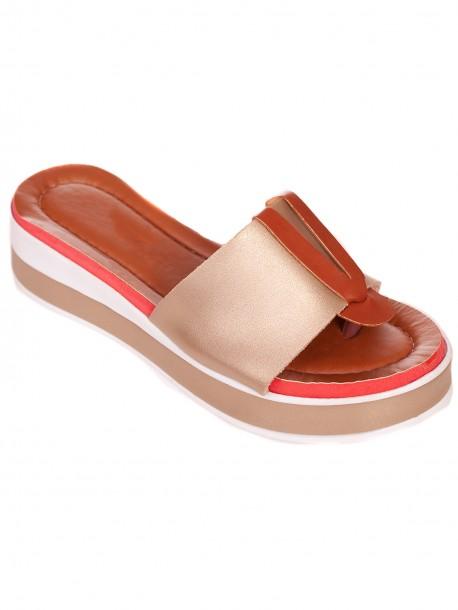 Златисти удобни дамски чехли