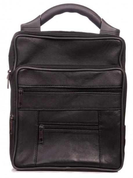 Мъжка чанта от естествена кожа с пластмасова дръжка
