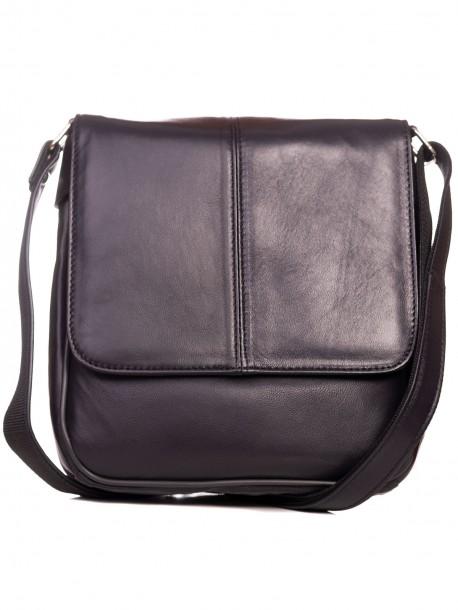 Мъжка чанта от естествена кожа в син цвят