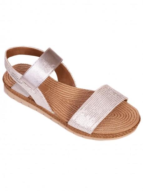 Дамски сандали с анатомична стелка - сребристи