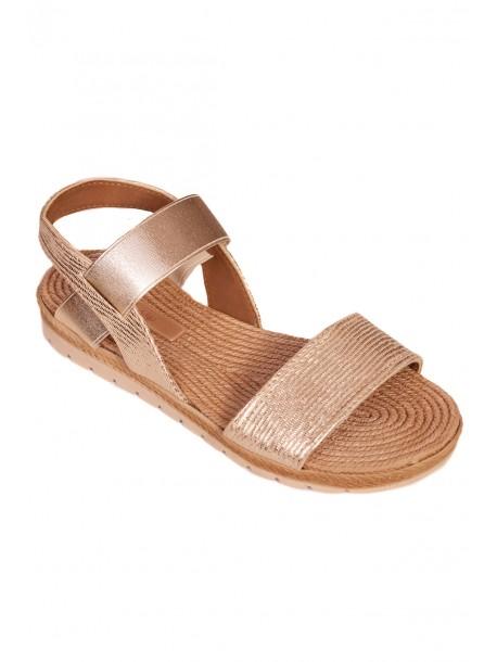 Дамски сандали с анатомична стелка - златисти