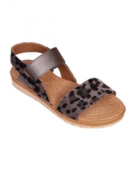 Дамски сандали с анатомична стелка - сиво и черно