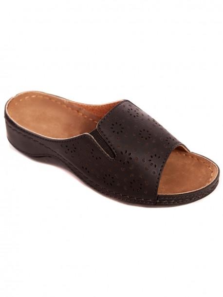 Кафяви чехли за широк крак