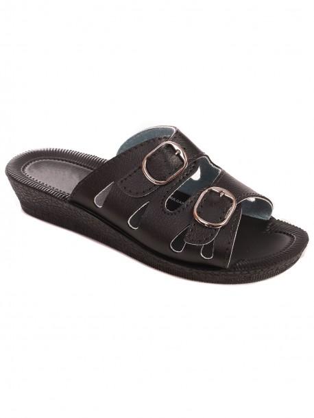 Черни дамски чехли с нисък ток