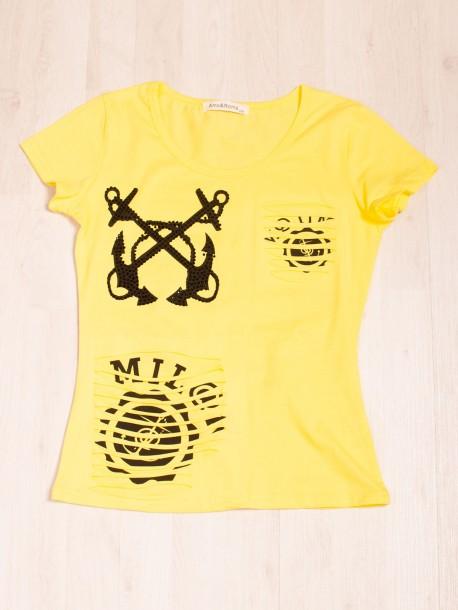 Жълта тениска с ефектен гръб
